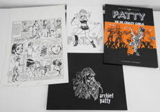 Brugman, Gideon - Original page (p.7) + album + bookplate - Patty en de Crazy Girls - hc - (2013)