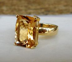 6.25 ct CGL-GRS Certified Natural Beryl (Heliodor) in Handmade Ring of 14K Solid Yellow Gold  -  Ring Size 17.5/55/7.5 (US)