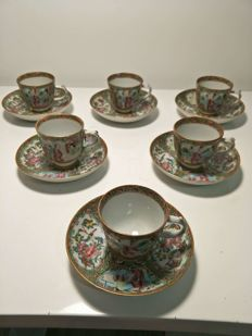 6 cups and 6 porcelain saucer with 