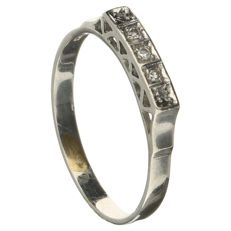 14 ct White Gold ring with 3 Diamonds of 0.03 ct in total- size EU 18.25; US 8; Japan 16