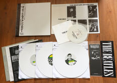 "The Beatles ‎– The Beatles Anthology 3lp Japanese boxset (1987)/ Very rare & long out of print compilation consisting of 3 lp's (white wax), 7"", Beatles calendar, sticker & 8-page lyric booklet"