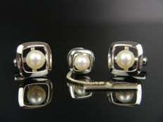 Cufflinks + frock button with fresh water pearls, silver