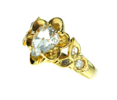 14 karat gold, women's ring with very large, rose cut diamond -