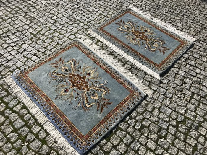 2 Unique Persian Hand knotted  Made in Iran -TABRIZ RUGS   100x85 cm and 100x85cm