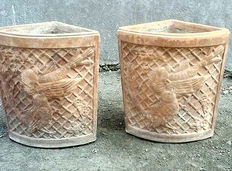 A pair of well decorated terracotta garden pots of triangular shape - Naples, Italy - 20th century