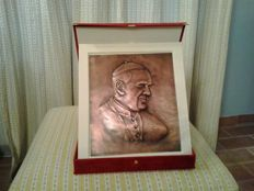 Holy Father's portrait in embossed copper