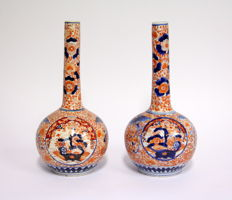 Large Imari pipe bottle.