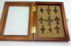 Collection of crosses of the XVII-XVIII centuries in the frame for the exposure