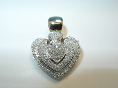 Heart pendant made of 585 gold with 86 brilliants approx. 0.80 ct
