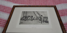 Print of Napoleon in the Bellerofonte ship
