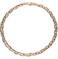 14 kt - Tri-colour yellow/white/rose gold braided Omega link necklace - Length: 42.5 cm