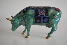 """Cow Parade - Candida Bayer -  type  """"Celtic Cow"""" - medium  - Porcelain - Retired"""