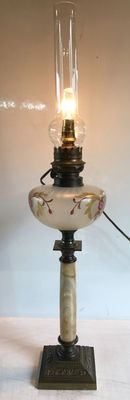 Old monumental oil lamp converted - handpainted opalescent glass - marble column - bronze foot - 1940s - France