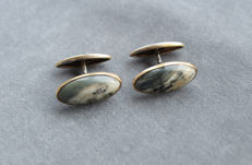 Solid silver & green Jasper cuff links, 1950s