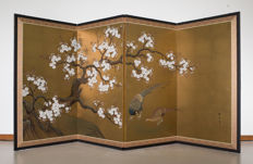 A signed four-part folding screen (byōbu).