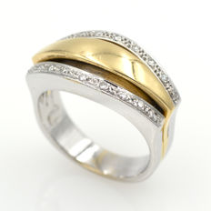 White and yellow gold ring with 0.15 ct of diamonds - Size: 17 (Spain)