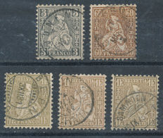 Switzerland 1862 - sitting Helvetia - SBK 29, 35, 36, 36a and 36b