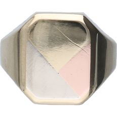 14 kt - Tricolour, yellow/white/rose gold signet ring - ring size: 19.75 mm