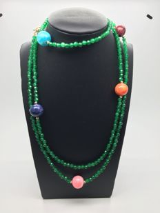14 K/585 yellow gold – Long necklace with faceted emeralds,  multi coloured Tiger's Eye gemstones beads – Length 117cm