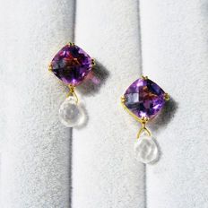 14K yellow gold with 4.2ct amethysts 2.4ct rock crystals earrings