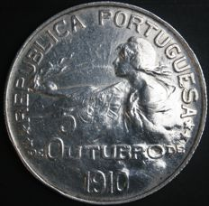 "Portugal – Escudo 1910 ""5 de Outubro 1910"" (commemorating the 5th of October 1910) – silver"