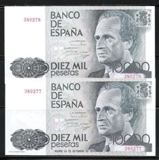 Spain - 2x 10,000 pesetas 1985 - Pick 161 - Correlative - No serial