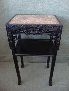 Tamarind Table With Marble Stone - China - ca. 1930