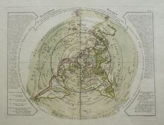 World, North Polar projection; Jean André Dezauche - Planisphere Physique ou l'on voit du Pole Septentrional - ca. 1783