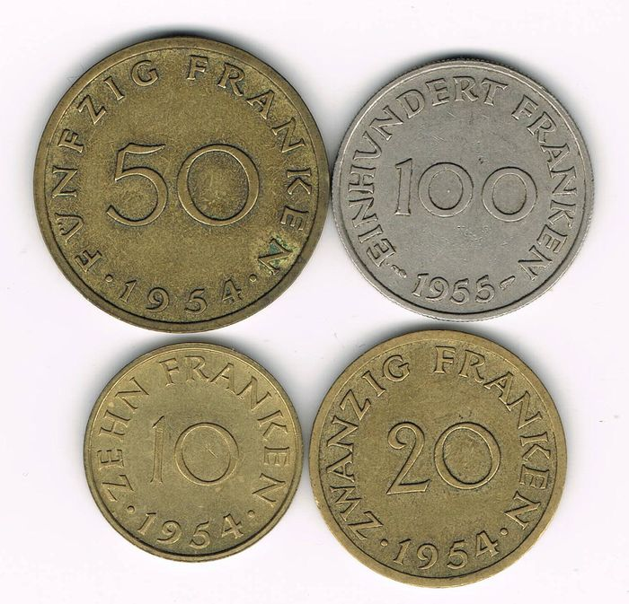 Saarland - 10, 20, 50 and 100 Franken/Francs 1955 Paris (complete series)