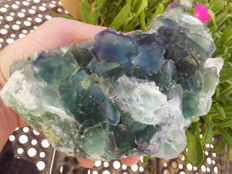Beautiful blue green and purple Okorusu mine fluorite specimen - 15,5 x 9 x 6 cm. - 1227 gr