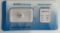 0.70 brilliant cut diamond, Colour H, Loupe Clean, IF clarity, HRD High Council