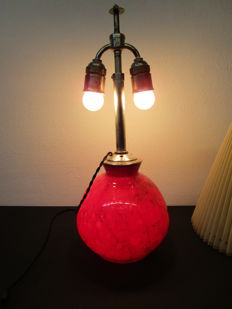 WMF Ikora - red glass table lamp - DRP - silver-plated fittings