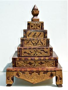 Jewellery box in the shape of a stupa (with provenance) - Java - Indonesia