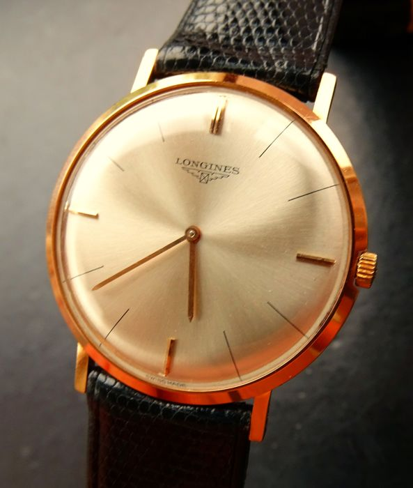 Longines Ultra Thin rose gold 18 kt vintage elegant men's luxury wristwatch 1970 new NOS