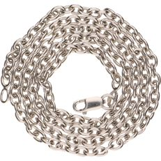 14 kt White gold anchor chain necklace - Length: 43 cm