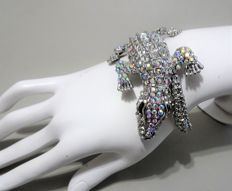 "Kenneth Jay Lane – New York – Spectacular alligator bracelet with Aurora Borealis ""Couture Collection"""
