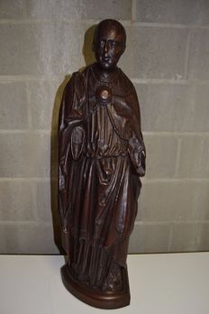 Neo-gothic style, statue of the white father (missionary) Africa - independence period Belgium