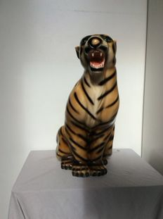 Large Porcelain Statue of a Tiger