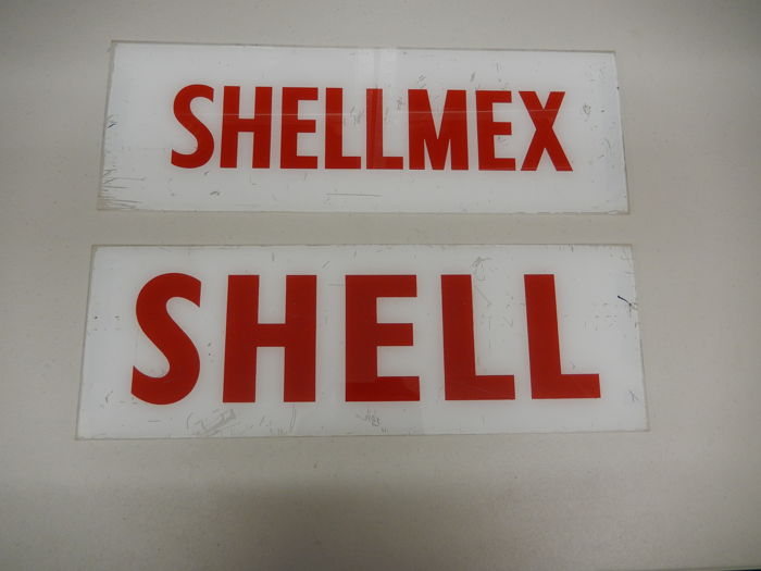 Shell - Vintage Shell and Shellmex Petrol Fuel Gas Pump Signs in Good Used Condition - 51 cm each