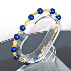 Lapis lazuli and Citrine bracelet with Sapphires – Length 20 cm, 18kt/750 yellow gold clasp