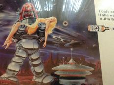 Original Kentucky Bourbon advertising poster with Robby the Robot - 1990