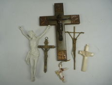 4 various Crucifixes and 1 Corpus Christi, Holland, circa 1930