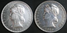 Portugal, Republic - Escudo 1915 and 1916 (2 coins) - silver