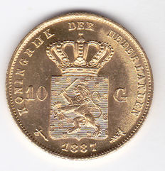 The Netherlands - 10 guilder coin 1887 - Willem III - gold