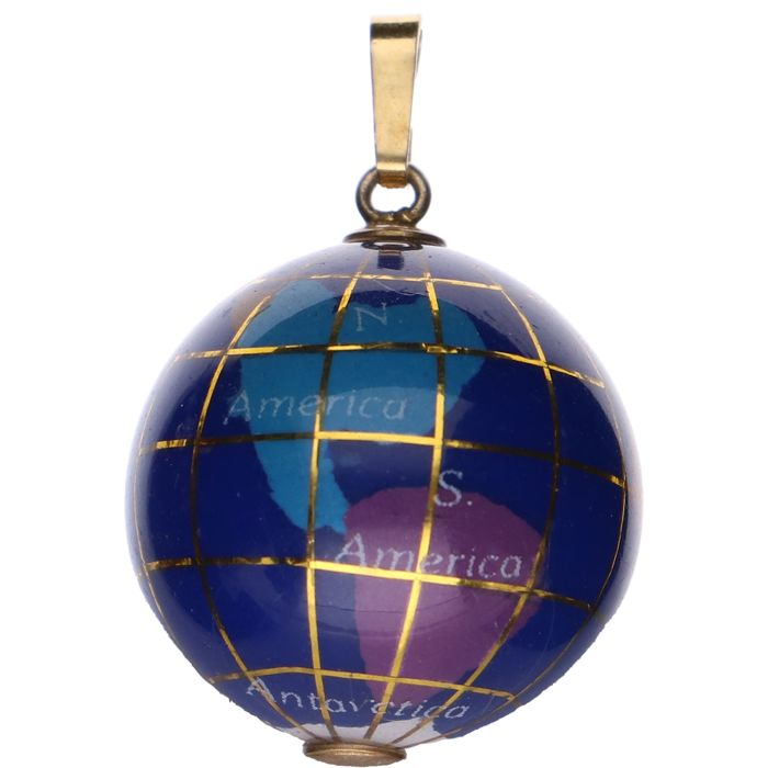 Silver pendant in the shape of a globe - Length x width: 2.9 x 2 cm