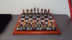 Indian and cowboy chess set hand-painted year 2000 from Germany