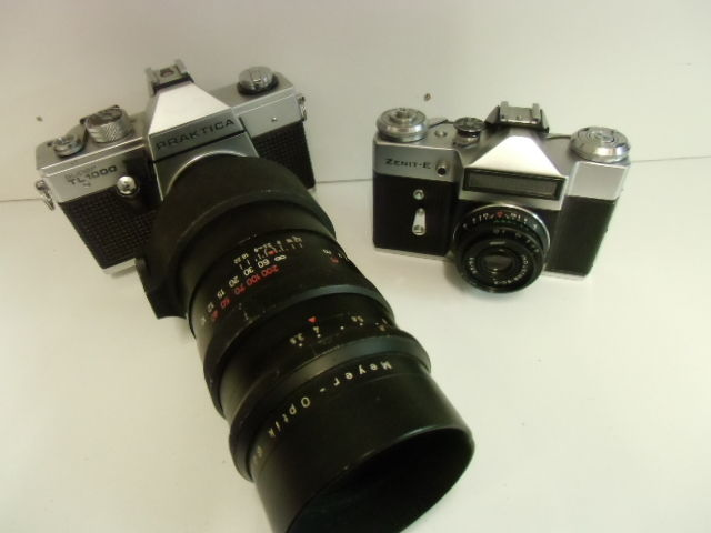 Praktica super tl 1000 reflex camera with 180 mm meyer lens and