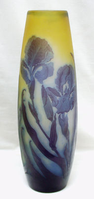 Emile Gallé - Large cameo glass vase with etched decoration of irises