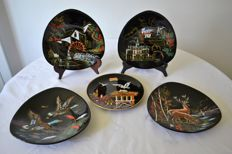 Longwy / L. Valenti - enamel mural art plates, hand decorated and numbered