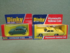 Dinky Toys - Scale 1/35-1/43 - Plymouth Yellow Cab No.278 and Citroen Visa No.504